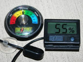 Hygrometers are humidity gauges which are vital for monitoring the humidity levels within a Rainbow Boa enclosure